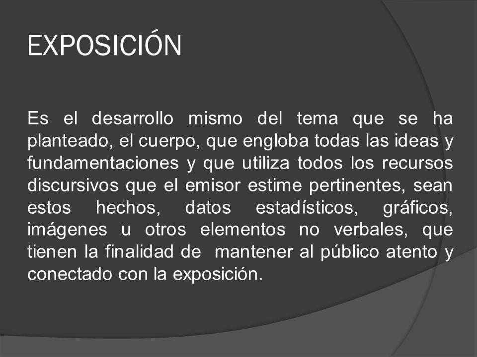 EXPOSICIÓN Es el desarrollo mismo del tema que se ha planteado, el cuerpo, que engloba todas las ideas y fundamentaciones y que utiliza todos los recu