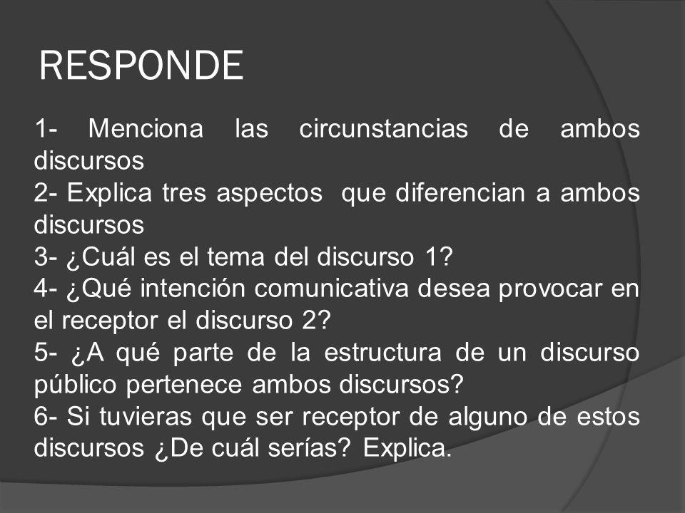 RESPONDE 1- Menciona las circunstancias de ambos discursos 2- Explica tres aspectos que diferencian a ambos discursos 3- ¿Cuál es el tema del discurso