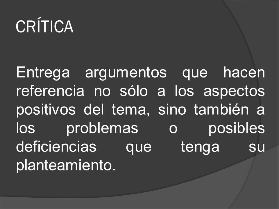 CRÍTICA Entrega argumentos que hacen referencia no sólo a los aspectos positivos del tema, sino también a los problemas o posibles deficiencias que te
