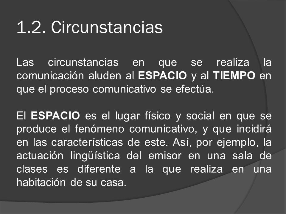 1.2. Circunstancias Las circunstancias en que se realiza la comunicación aluden al ESPACIO y al TIEMPO en que el proceso comunicativo se efectúa. El E