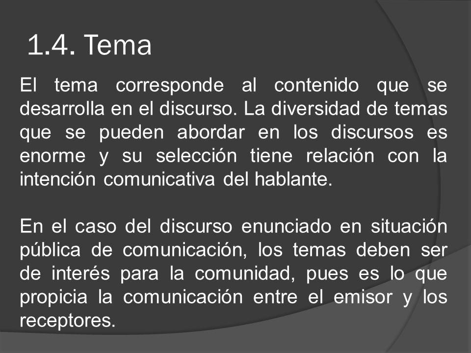 1.4. Tema El tema corresponde al contenido que se desarrolla en el discurso. La diversidad de temas que se pueden abordar en los discursos es enorme y
