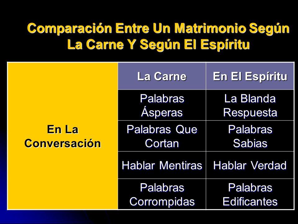 Comparación Entre Un Matrimonio Según La Carne Y Según El Espíritu La Carne En El Espíritu Palabras Ásperas La Blanda Respuesta En La Conversación Pal