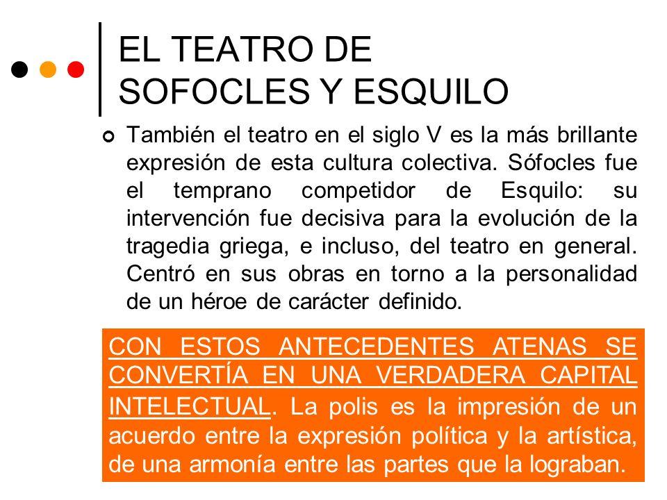 EL TEATRO DE SOFOCLES Y ESQUILO También el teatro en el siglo V es la más brillante expresión de esta cultura colectiva. Sófocles fue el temprano comp