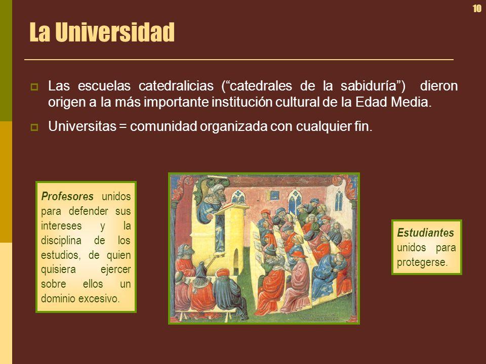 10 La Universidad Las escuelas catedralicias (catedrales de la sabiduría) dieron origen a la más importante institución cultural de la Edad Media. Uni
