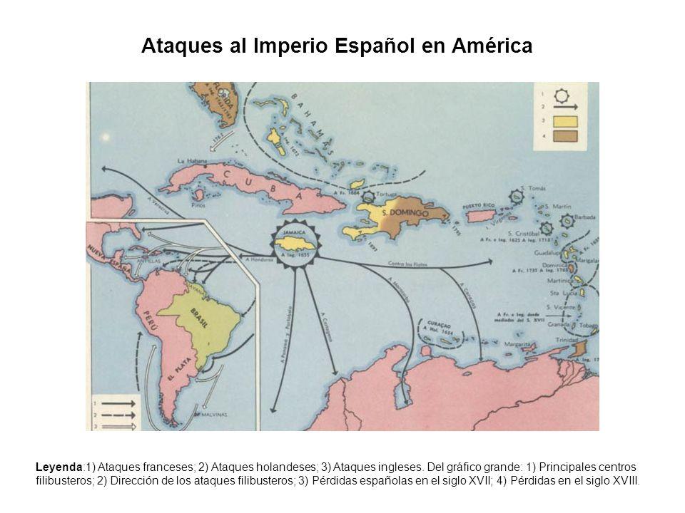 Ataques al Imperio Español en América Leyenda:1) Ataques franceses; 2) Ataques holandeses; 3) Ataques ingleses. Del gráfico grande: 1) Principales cen