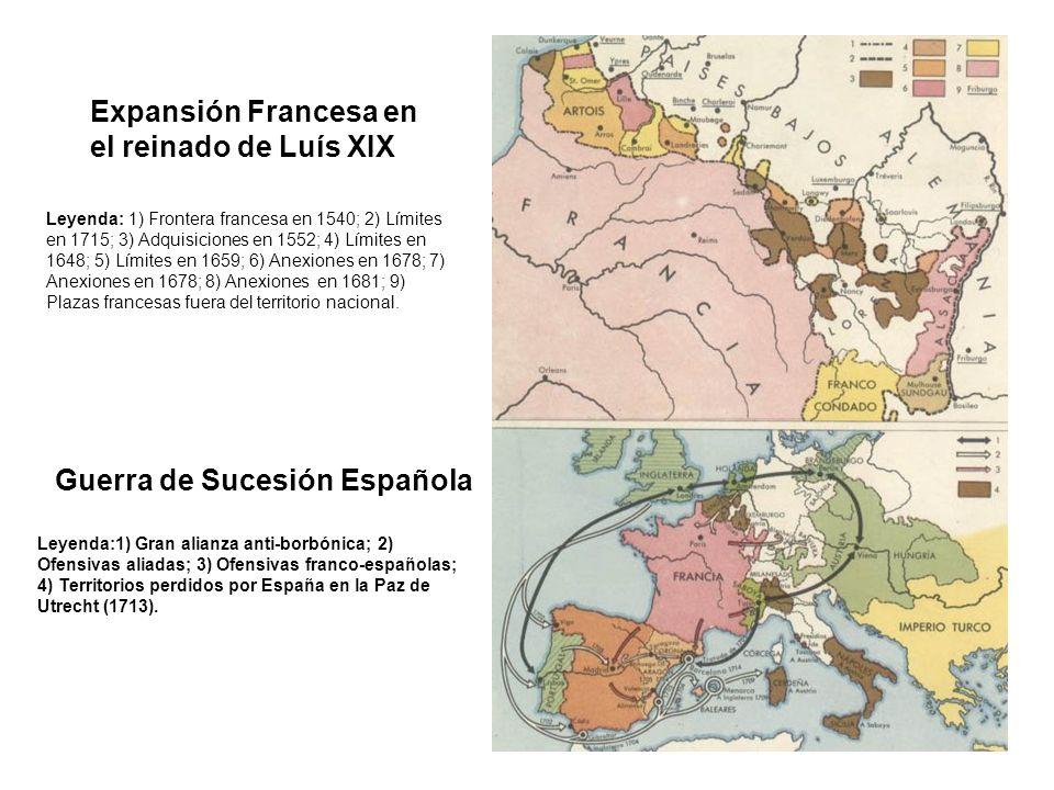Guerra de Sucesión Española Leyenda: 1) Frontera francesa en 1540; 2) Límites en 1715; 3) Adquisiciones en 1552; 4) Límites en 1648; 5) Límites en 165