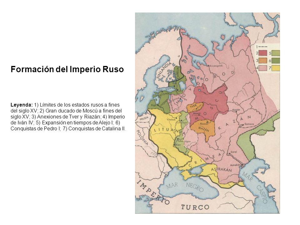 Formación del Imperio Ruso Leyenda: 1) Límites de los estados rusos a fines del siglo XV; 2) Gran ducado de Moscú a fines del siglo XV; 3) Anexiones d