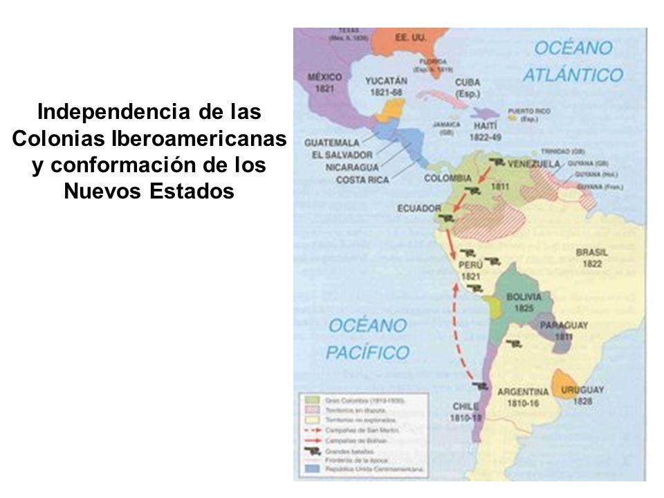 Independencia de las Colonias Iberoamericanas y conformación de los Nuevos Estados