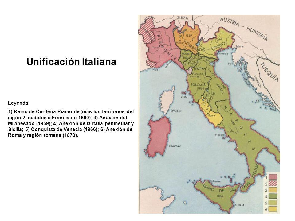 Unificación Italiana Leyenda: 1) Reino de Cerdeña-Piamonte (más los territorios del signo 2, cedidos a Francia en 1860); 3) Anexión del Milanesado (18