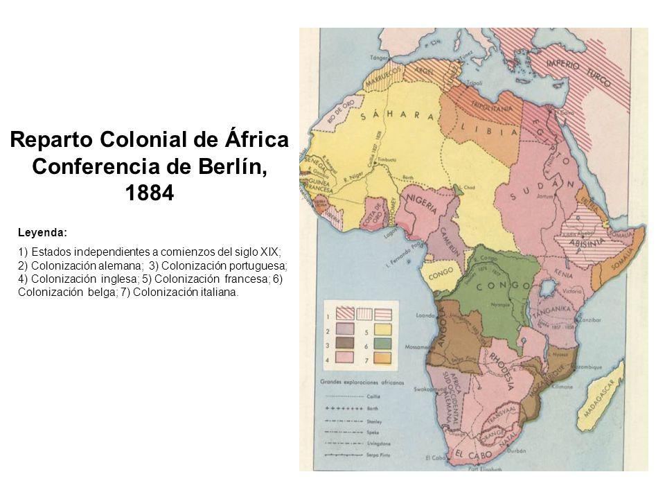Reparto Colonial de África Conferencia de Berlín, 1884 Leyenda: 1) Estados independientes a comienzos del siglo XIX; 2) Colonización alemana; 3) Colon
