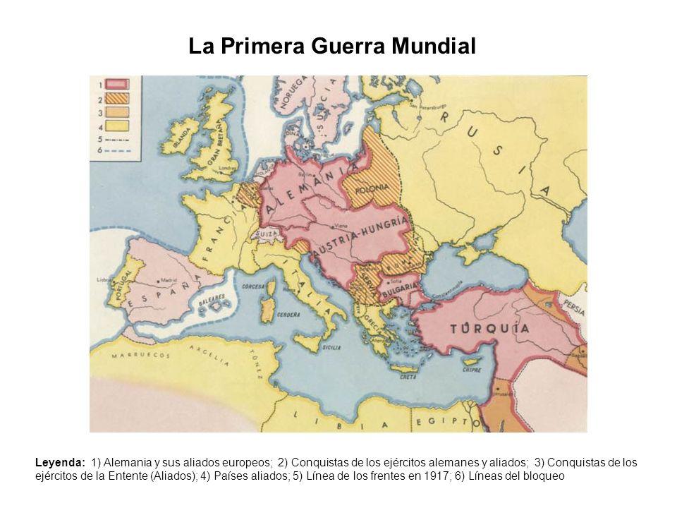 La Primera Guerra Mundial Leyenda: 1) Alemania y sus aliados europeos; 2) Conquistas de los ejércitos alemanes y aliados; 3) Conquistas de los ejércit