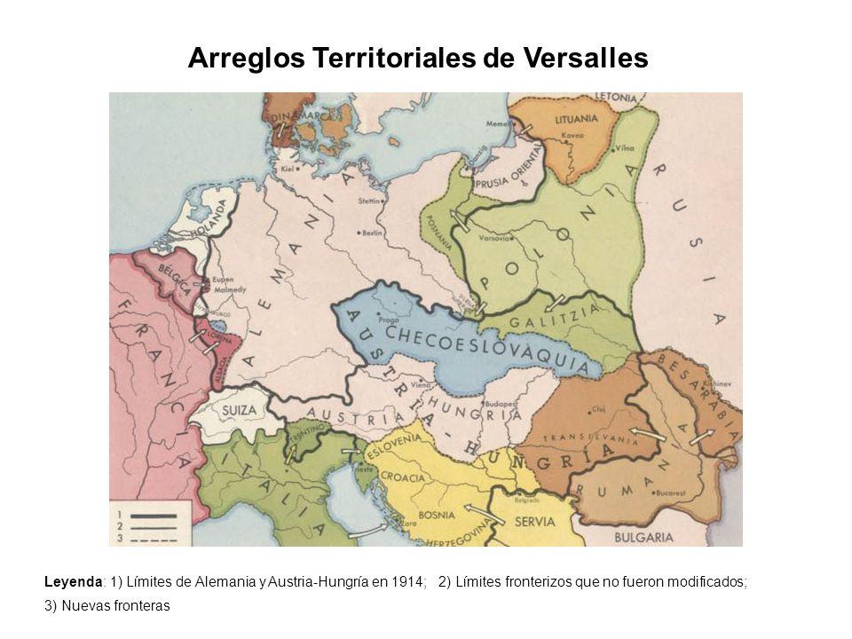 Arreglos Territoriales de Versalles Leyenda: 1) Límites de Alemania y Austria-Hungría en 1914; 2) Límites fronterizos que no fueron modificados; 3) Nu