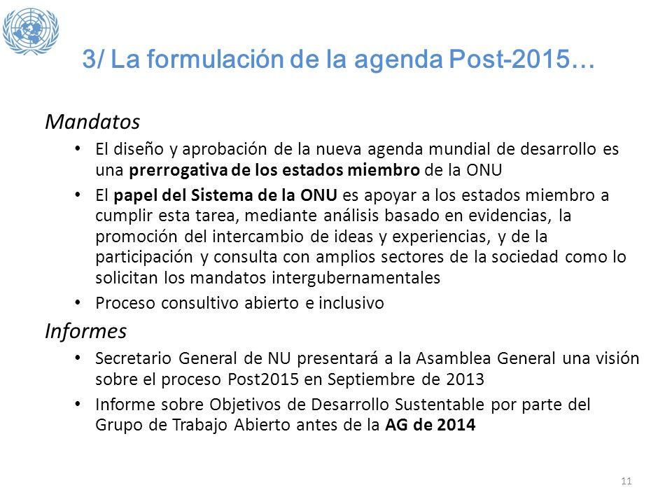 3/ La formulación de la agenda Post-2015… Mandatos El diseño y aprobación de la nueva agenda mundial de desarrollo es una prerrogativa de los estados