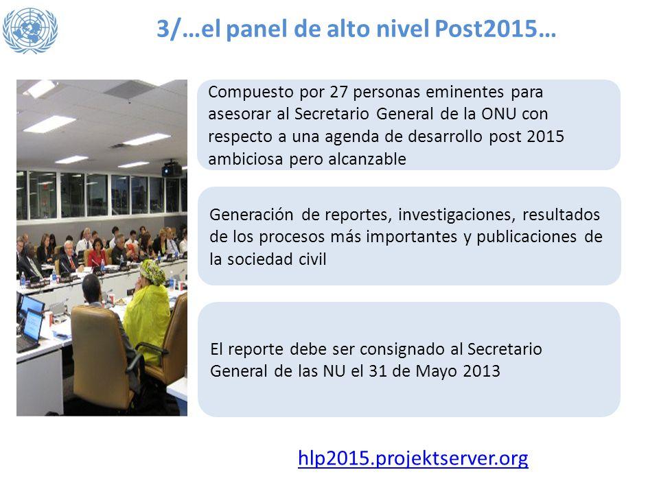 3/…el panel de alto nivel Post2015… Compuesto por 27 personas eminentes para asesorar al Secretario General de la ONU con respecto a una agenda de des