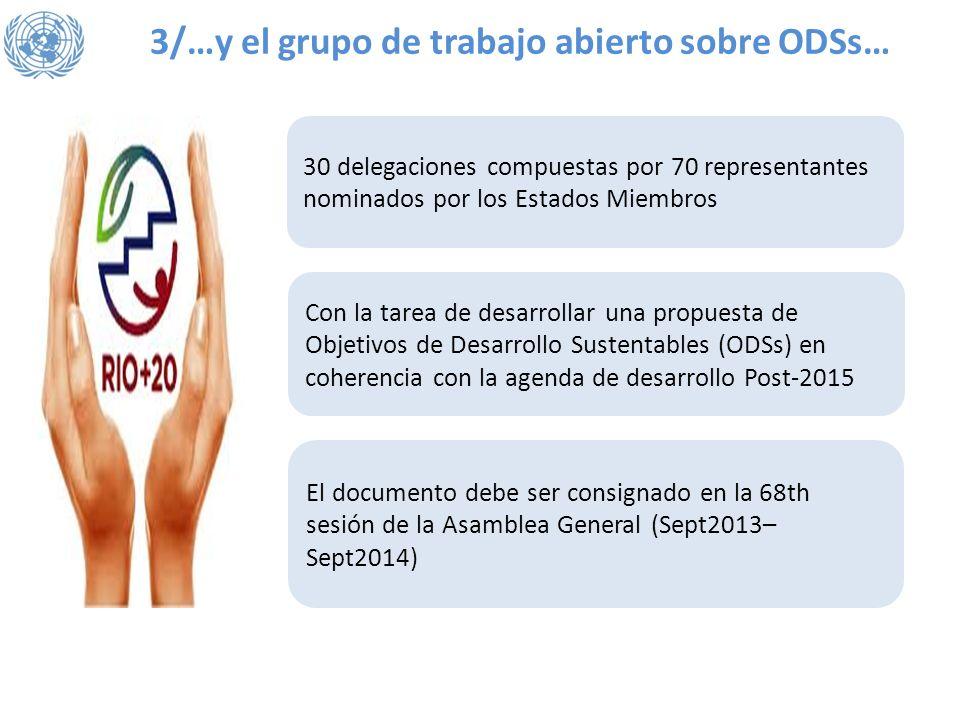 3/…y el grupo de trabajo abierto sobre ODSs… 30 delegaciones compuestas por 70 representantes nominados por los Estados Miembros Con la tarea de desar