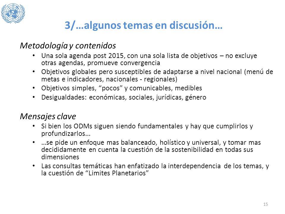 3/…algunos temas en discusión… Metodología y contenidos Una sola agenda post 2015, con una sola lista de objetivos – no excluye otras agendas, promuev