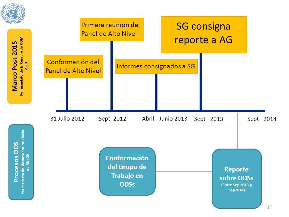Marco Post-2015 Por mandato de la Cumbre de ODM 2010 Procesos ODS Por mandato del documento resultado de Rio+20 Conformación del Panel de Alto Nivel P