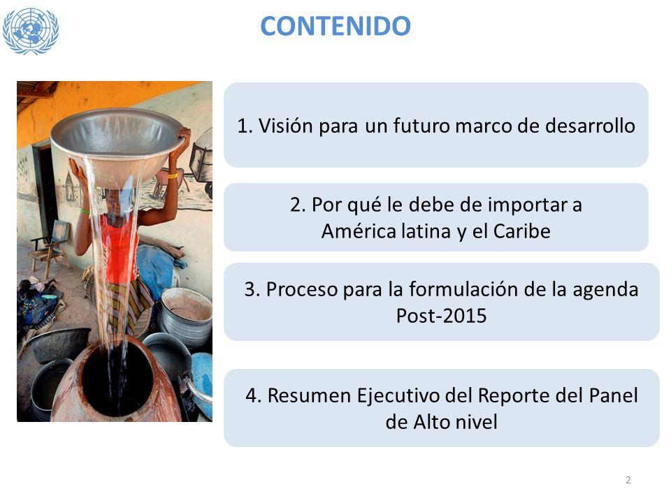 CONTENIDO 3. Proceso para la formulación de la agenda Post-2015 1. Visión para un futuro marco de desarrollo 2. Por qué le debe de importar a América