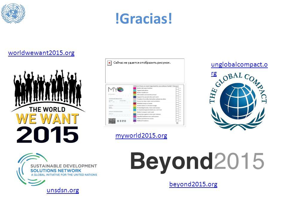 !Gracias! myworld2015.org worldwewant2015.org unglobalcompact.o rg beyond2015.org unsdsn.org