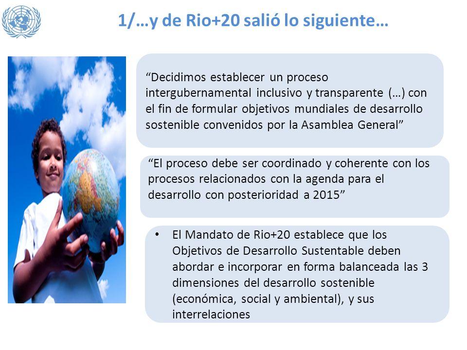1/…y de Rio+20 salió lo siguiente… Decidimos establecer un proceso intergubernamental inclusivo y transparente (…) con el fin de formular objetivos mu