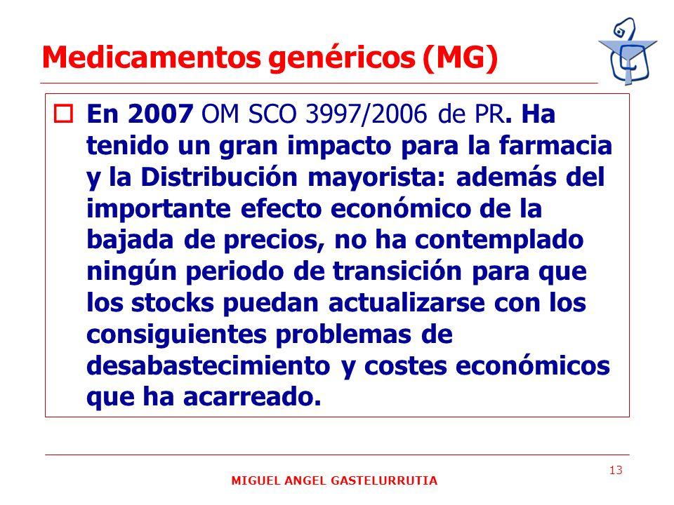 MIGUEL ANGEL GASTELURRUTIA 13 En 2007 OM SCO 3997/2006 de PR. Ha tenido un gran impacto para la farmacia y la Distribución mayorista: además del impor