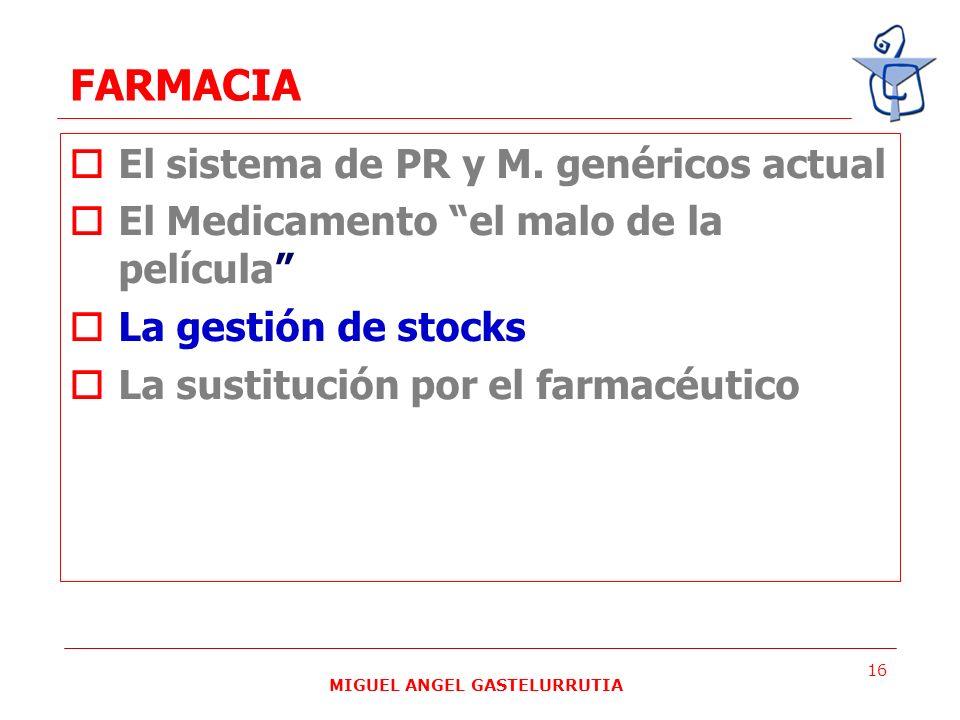 MIGUEL ANGEL GASTELURRUTIA 16 FARMACIA El sistema de PR y M. genéricos actual El Medicamento el malo de la película La gestión de stocks La sustitució