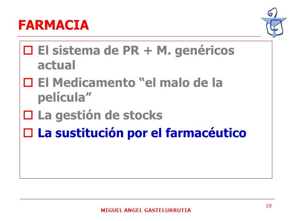 MIGUEL ANGEL GASTELURRUTIA 18 El sistema de PR + M. genéricos actual El Medicamento el malo de la película La gestión de stocks La sustitución por el