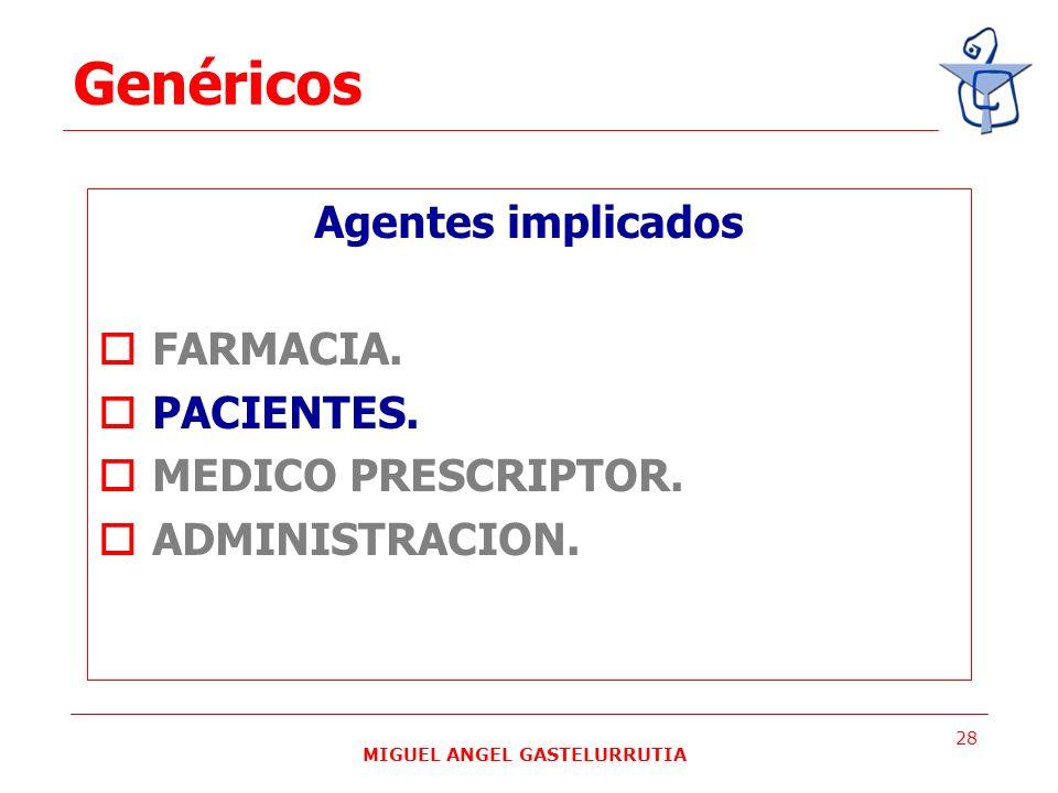 MIGUEL ANGEL GASTELURRUTIA 28 Agentes implicados FARMACIA. PACIENTES. MEDICO PRESCRIPTOR. ADMINISTRACION. Genéricos