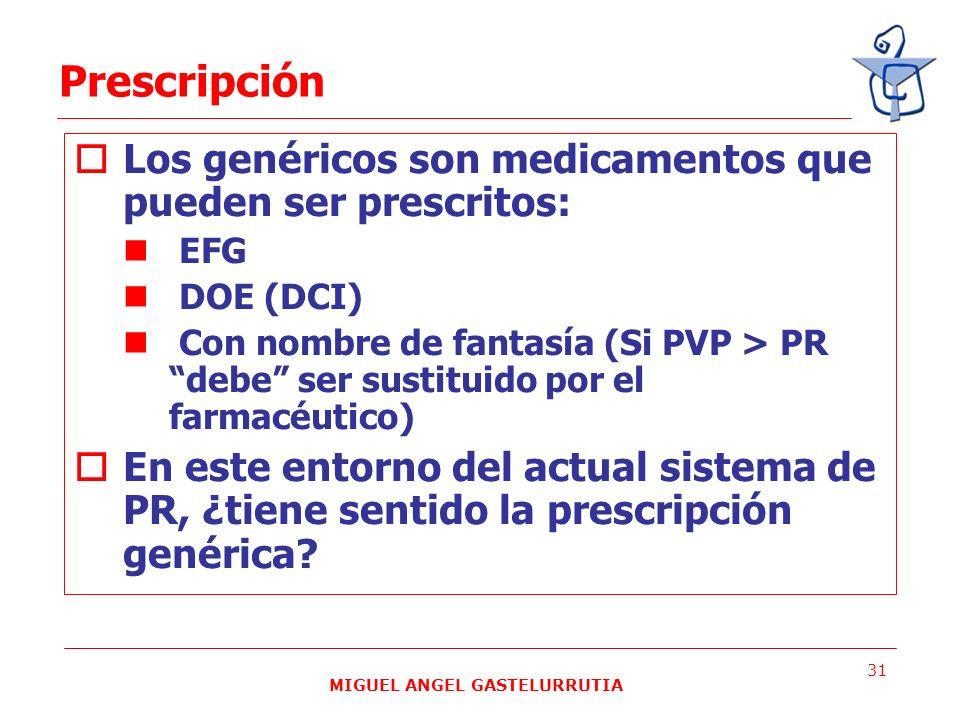 MIGUEL ANGEL GASTELURRUTIA 31 Los genéricos son medicamentos que pueden ser prescritos: EFG DOE (DCI) Con nombre de fantasía (Si PVP > PR debe ser sus