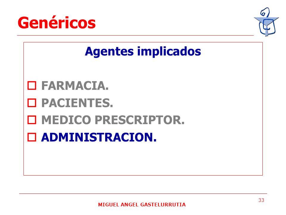 MIGUEL ANGEL GASTELURRUTIA 33 Agentes implicados FARMACIA. PACIENTES. MEDICO PRESCRIPTOR. ADMINISTRACION. Genéricos