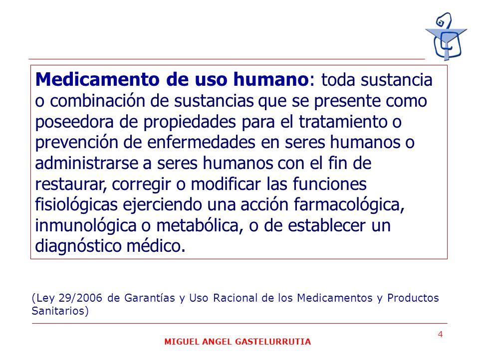 MIGUEL ANGEL GASTELURRUTIA 4 Medicamento de uso humano: toda sustancia o combinación de sustancias que se presente como poseedora de propiedades para
