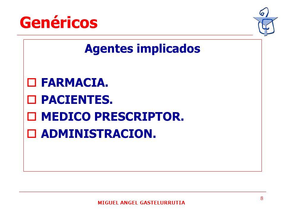 MIGUEL ANGEL GASTELURRUTIA 8 Agentes implicados FARMACIA. PACIENTES. MEDICO PRESCRIPTOR. ADMINISTRACION. Genéricos