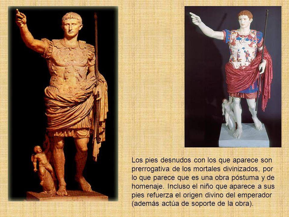 Los pies desnudos con los que aparece son prerrogativa de los mortales divinizados, por lo que parece que es una obra póstuma y de homenaje. Incluso e