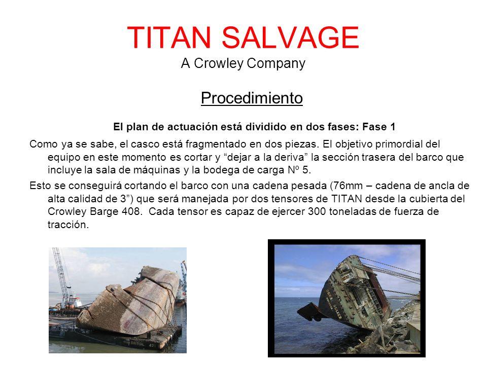 TITAN SALVAGE A Crowley Company Procedimiento El plan de actuación está dividido en dos fases: Fase 1 Como ya se sabe, el casco está fragmentado en dos piezas.