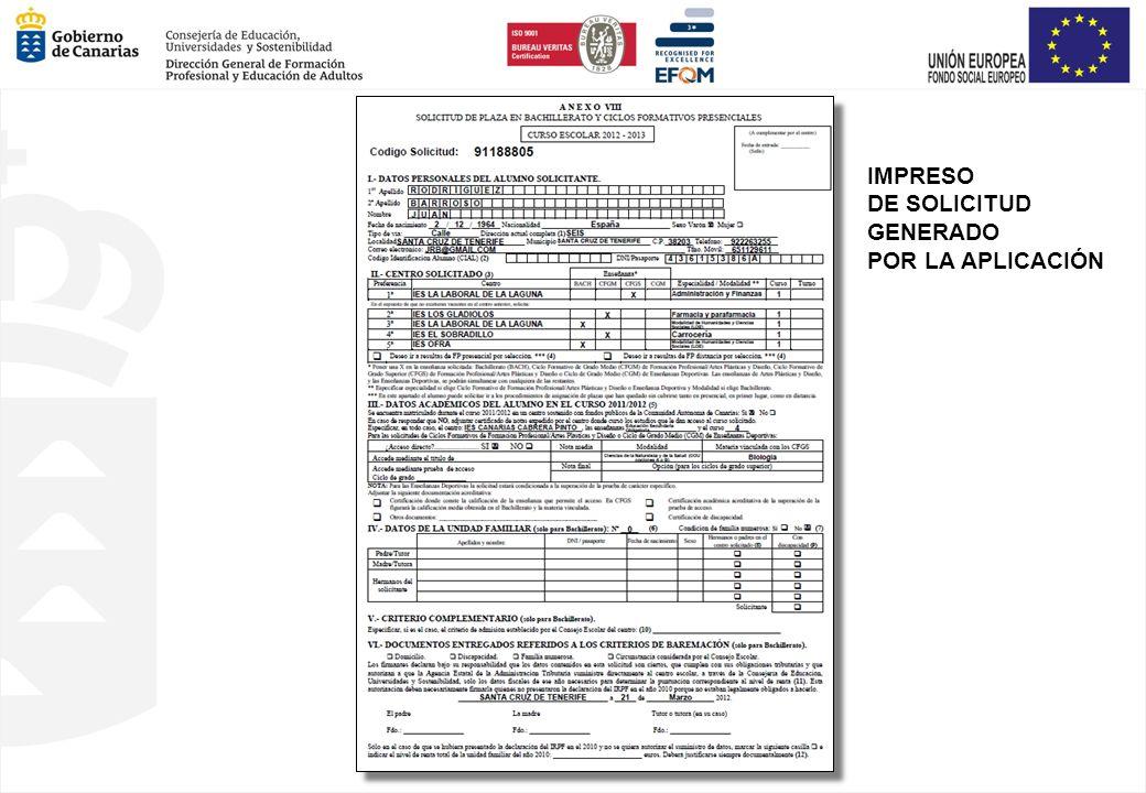 IMPRESO DE SOLICITUD GENERADO POR LA APLICACIÓN