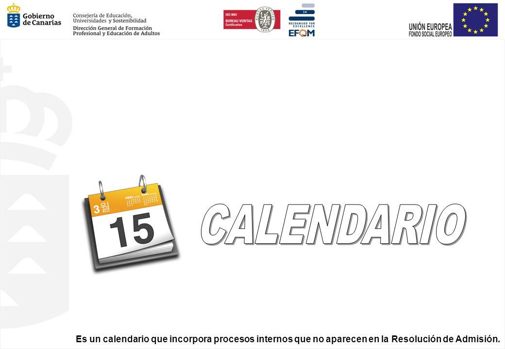 Es un calendario que incorpora procesos internos que no aparecen en la Resolución de Admisión.