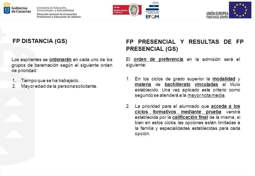 El orden de preferencia en la admisión será el siguiente: FP PRESENCIAL Y RESULTAS DE FP PRESENCIAL (GS) Los aspirantes se ordenarán en cada uno de lo