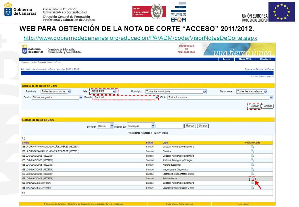 WEB PARA OBTENCIÓN DE LA NOTA DE CORTE ACCESO 2011/2012. http://www.gobiernodecanarias.org/educacion/PA/ADM/code/VisorNotasDeCorte.aspx