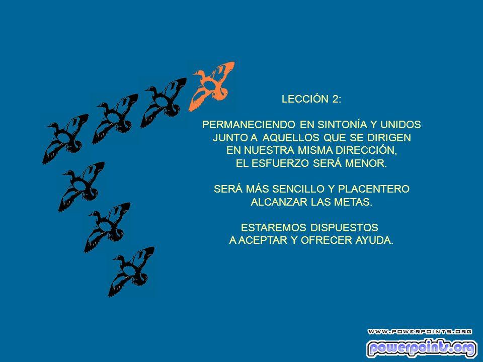 LECCIÓN 2: PERMANECIENDO EN SINTONÍA Y UNIDOS JUNTO A AQUELLOS QUE SE DIRIGEN EN NUESTRA MISMA DIRECCIÓN, EL ESFUERZO SERÁ MENOR.