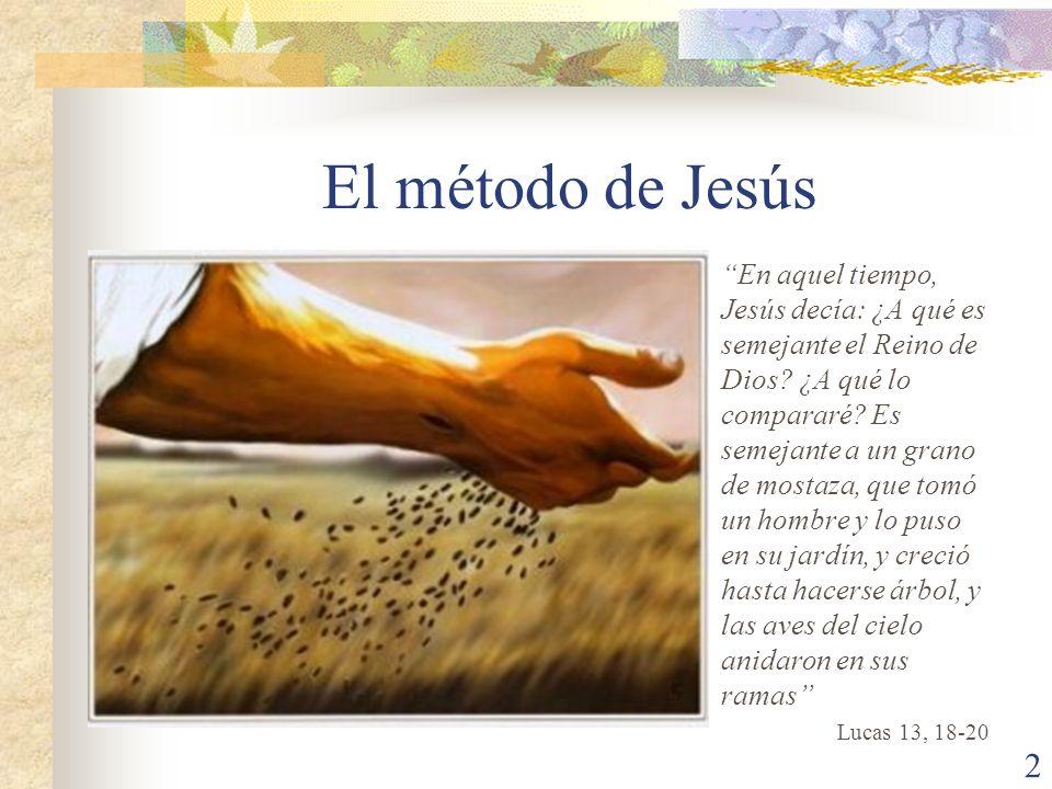 El método de Jesús En aquel tiempo, Jesús decía: ¿A qué es semejante el Reino de Dios? ¿A qué lo compararé? Es semejante a un grano de mostaza, que to