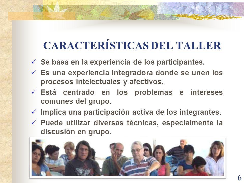 CARACTERÍSTICAS DEL TALLER Se basa en la experiencia de los participantes. Es una experiencia integradora donde se unen los procesos intelectuales y a