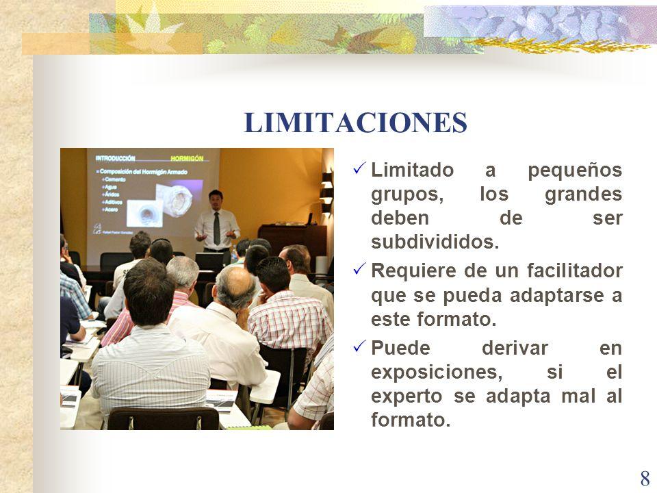 LIMITACIONES Limitado a pequeños grupos, los grandes deben de ser subdivididos. Requiere de un facilitador que se pueda adaptarse a este formato. Pued