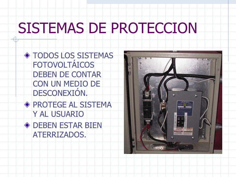 SISTEMAS DE PROTECCION TODOS LOS SISTEMAS FOTOVOLTÁICOS DEBEN DE CONTAR CON UN MEDIO DE DESCONEXIÓN. PROTEGE AL SISTEMA Y AL USUARIO DEBEN ESTAR BIEN