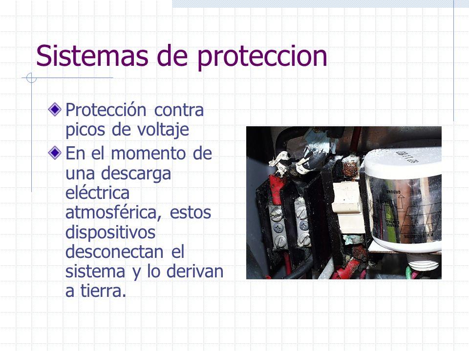 Sistemas de proteccion Protección contra picos de voltaje En el momento de una descarga eléctrica atmosférica, estos dispositivos desconectan el siste