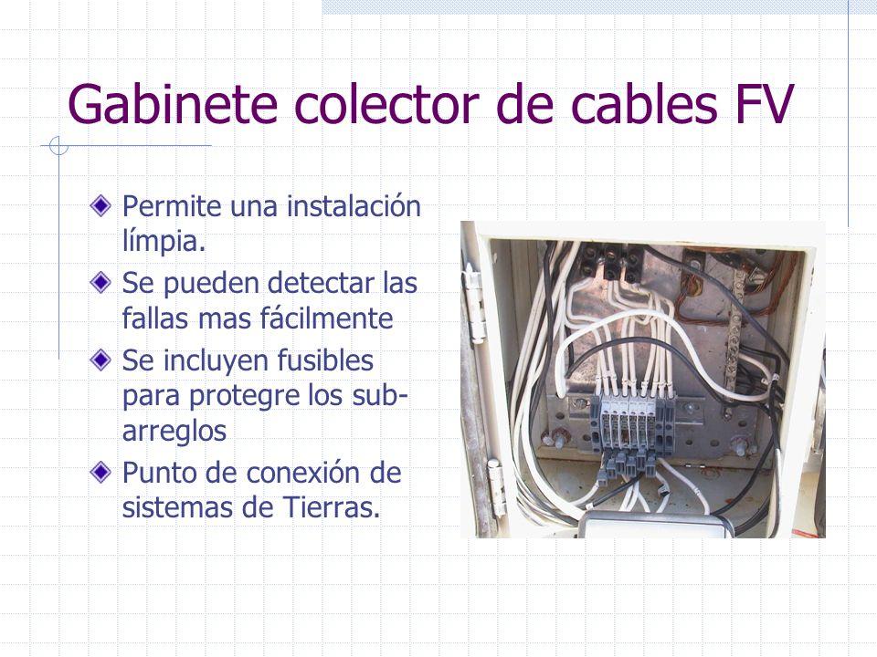 Gabinete colector de cables FV Permite una instalación límpia. Se pueden detectar las fallas mas fácilmente Se incluyen fusibles para protegre los sub