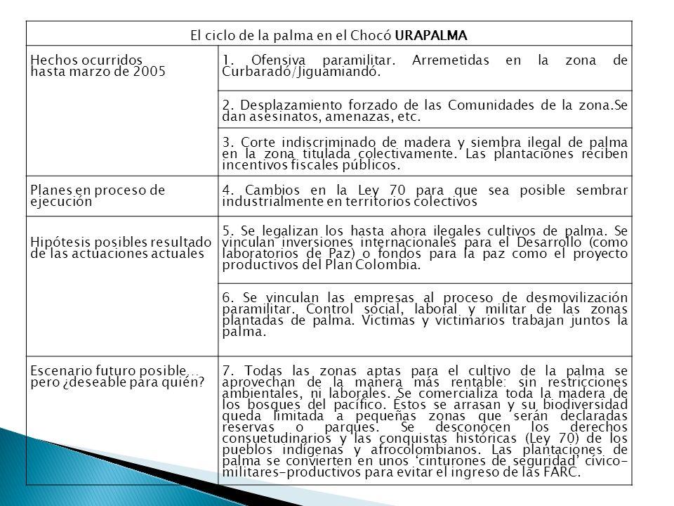 El ciclo de la palma en el Chocó URAPALMA Hechos ocurridos hasta marzo de 2005 1.