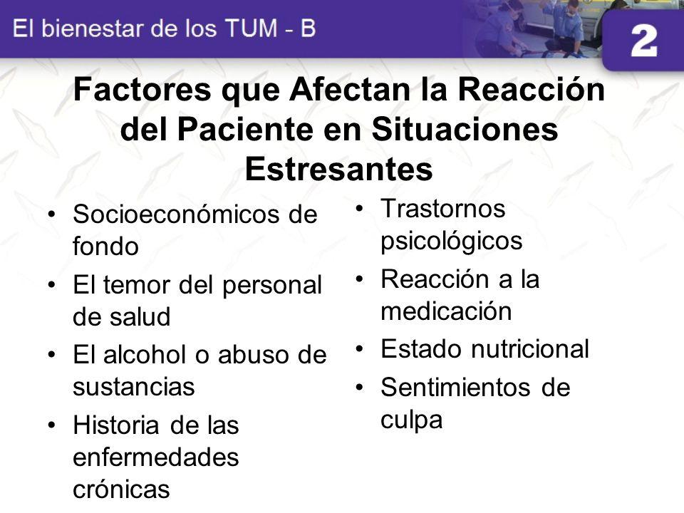 Factores que Afectan la Reacción del Paciente en Situaciones Estresantes Socioeconómicos de fondo El temor del personal de salud El alcohol o abuso de