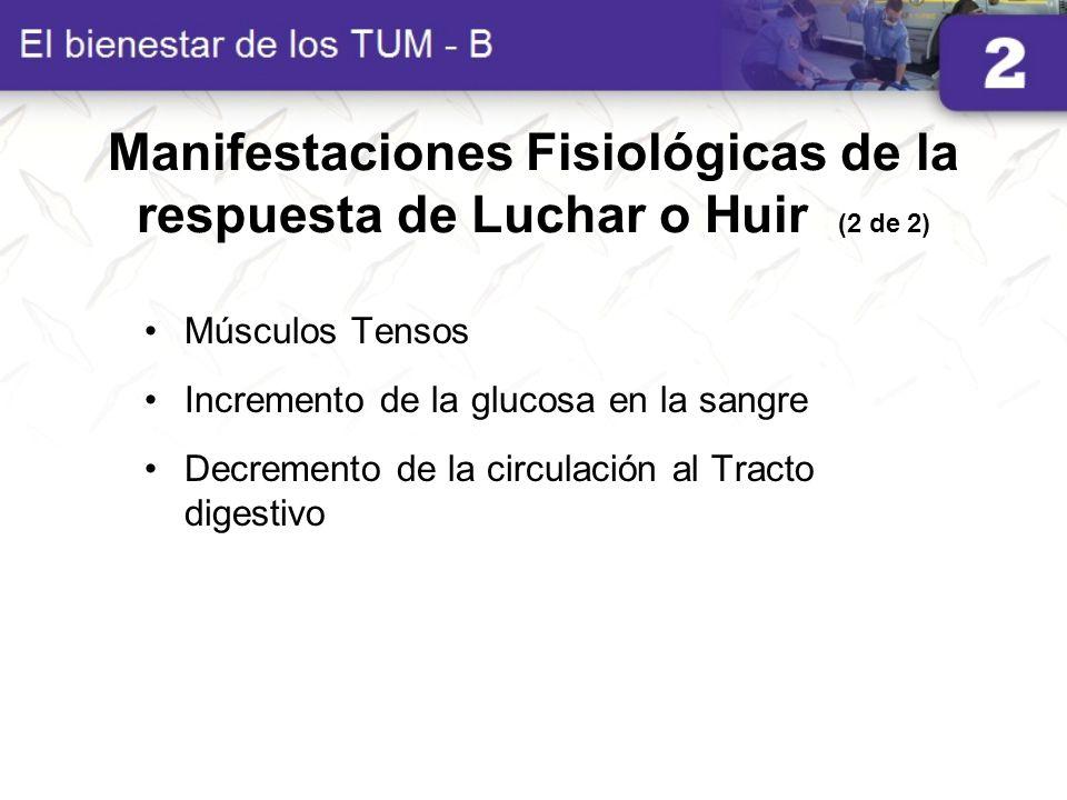 Manifestaciones Fisiológicas de la respuesta de Luchar o Huir (2 de 2) Músculos Tensos Incremento de la glucosa en la sangre Decremento de la circulac