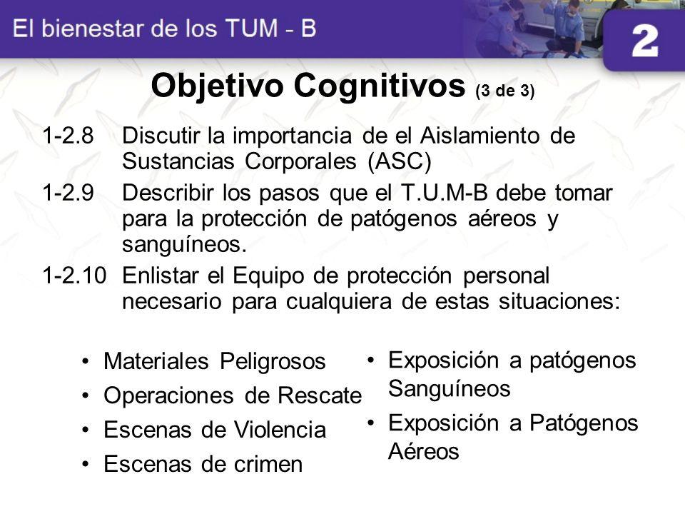 1-2.8Discutir la importancia de el Aislamiento de Sustancias Corporales (ASC) 1-2.9Describir los pasos que el T.U.M-B debe tomar para la protección de