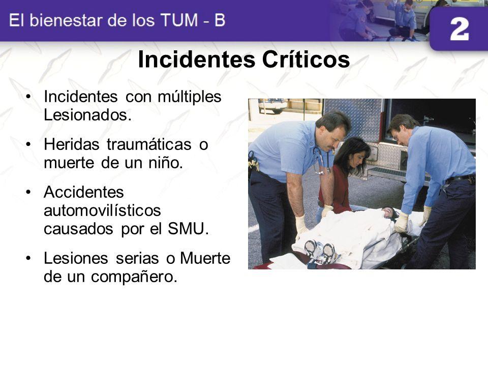 Incidentes Críticos Incidentes con múltiples Lesionados. Heridas traumáticas o muerte de un niño. Accidentes automovilísticos causados por el SMU. Les